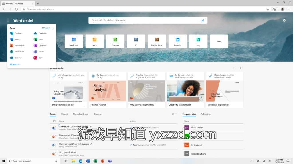 Personalized tab page in the new Microsoft Edge